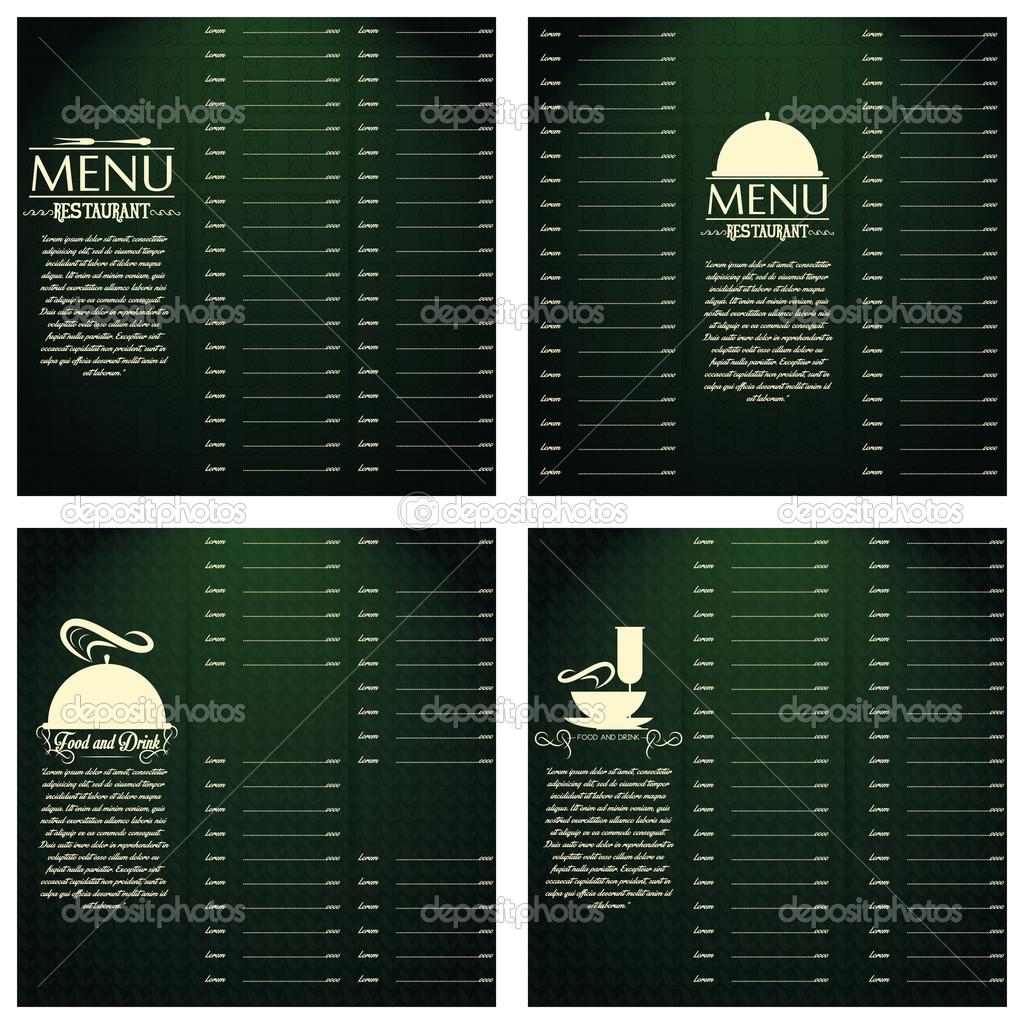 cartas de restaurante menú diseño plantilla editable — Archivo ...