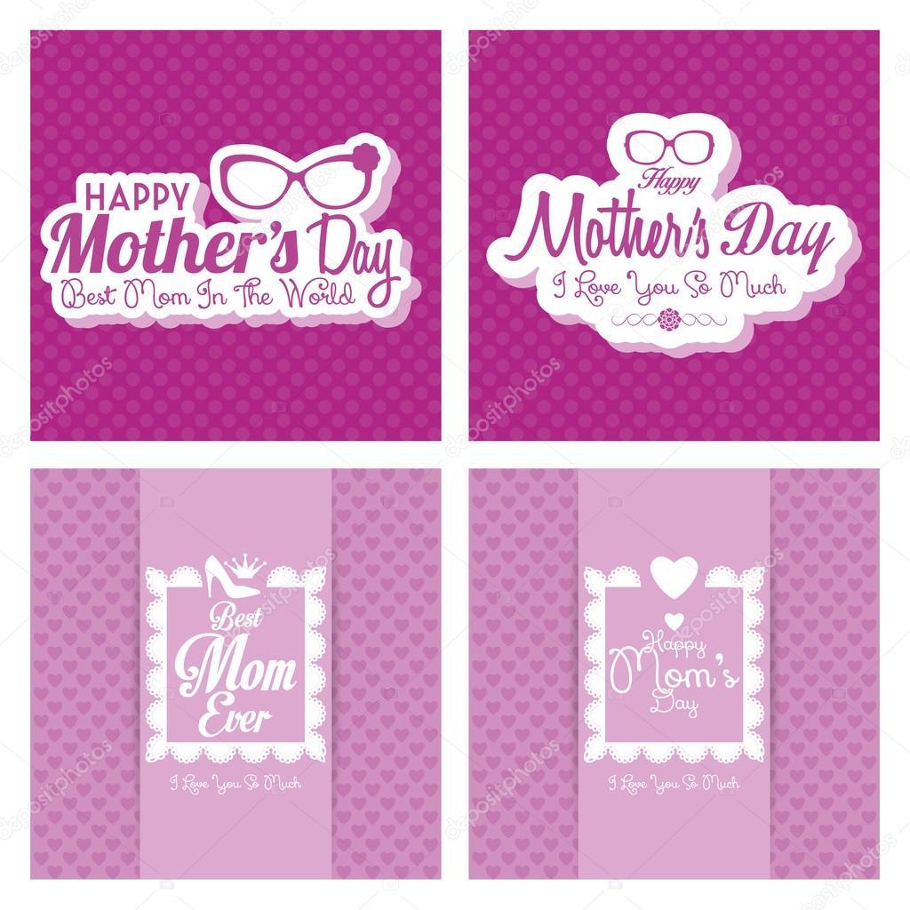 Satz von glücklich Mütter Tag Vorlage Karte Hintergrund ...