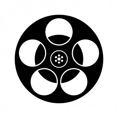 Black And White Film Reel Icon Isolated