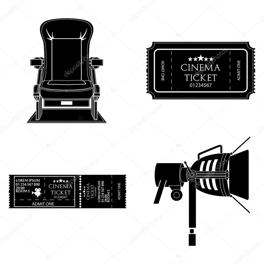 Set Of Black And White Movie Related Icons