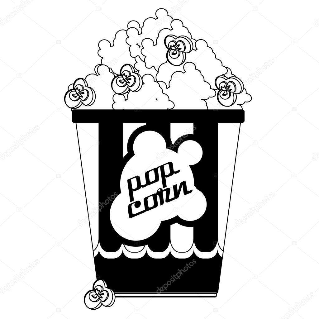 Black And White Cinema Popcorn Icon Isolated