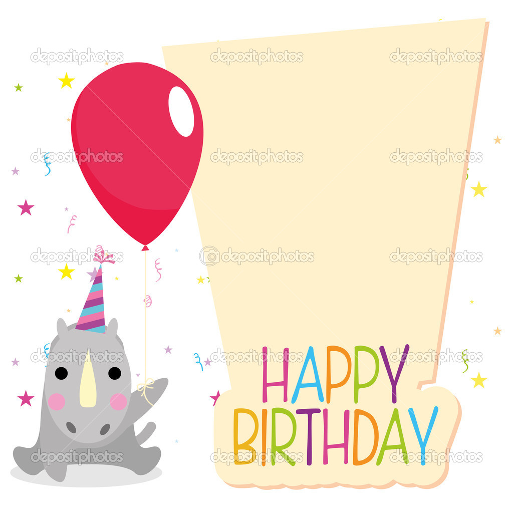 Delicieux Cute Happy Birthday Card Template Editable U2014 Stock Vector