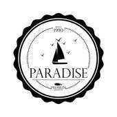 související label jednoduché stylové černé a bílé pláže