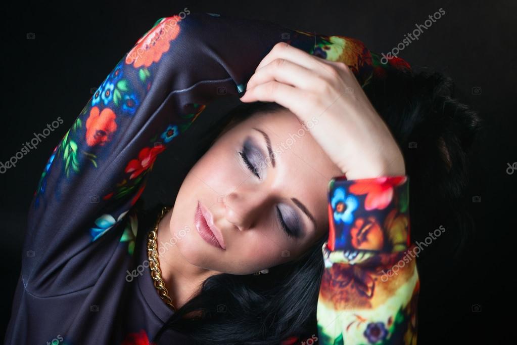 Portrait Of Pretty Brunette In Flower Sweatshirts Swag Girl Fa