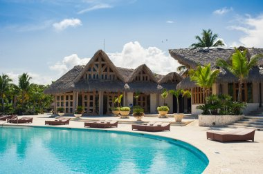 Outdoor resort swimming pool of luxury hotel.