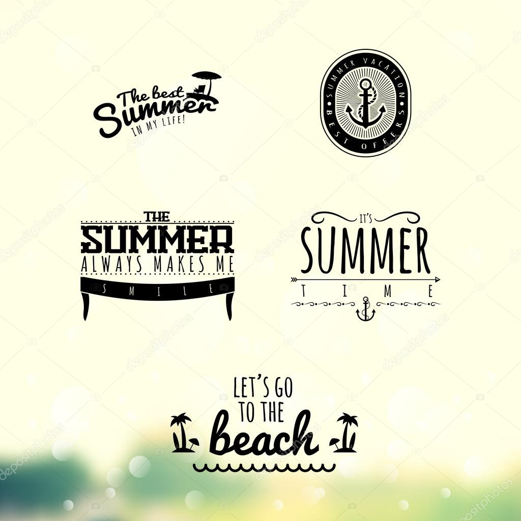 Summer Label Set  Vector Illustration  Blurred Background