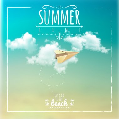 Summer Label with Paper Plane