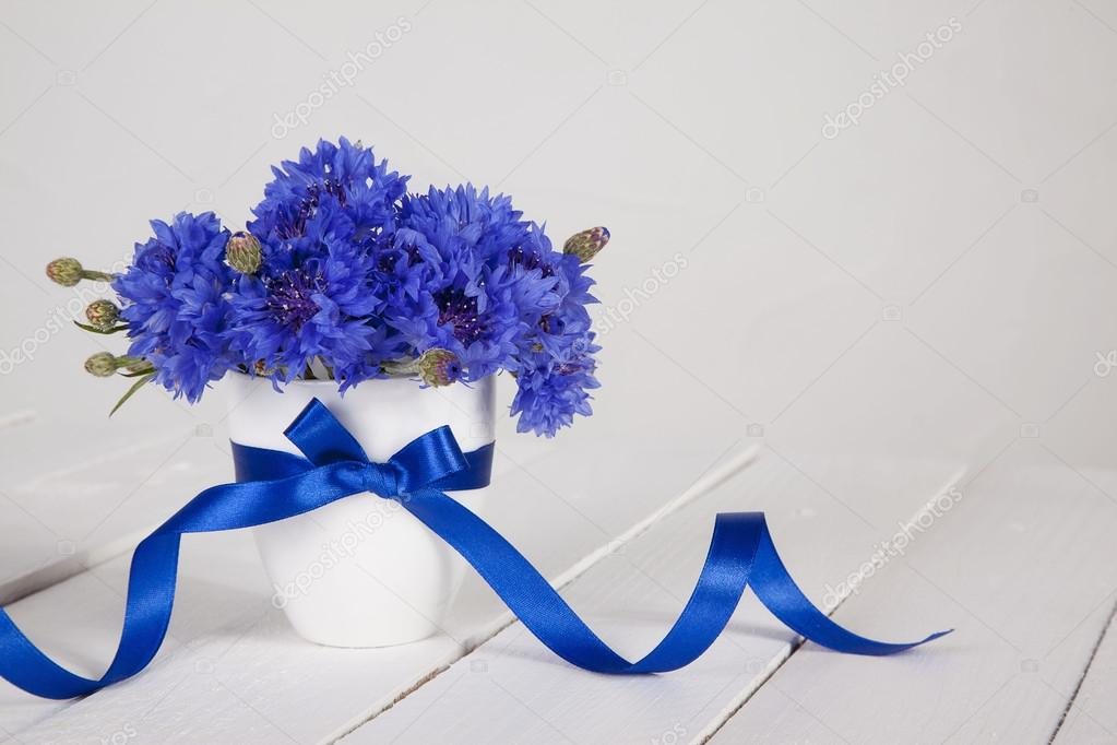 Blue cornflowers in vase with blue ribbon