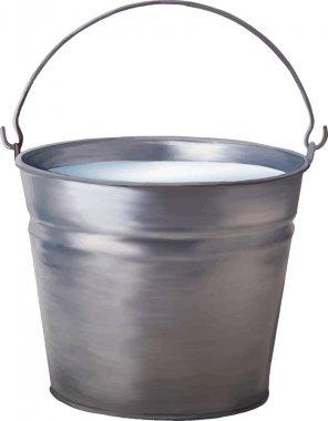 Vector illustration of Metallic bucket with milk