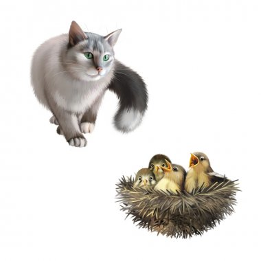 Gray cat and four baby sparrows