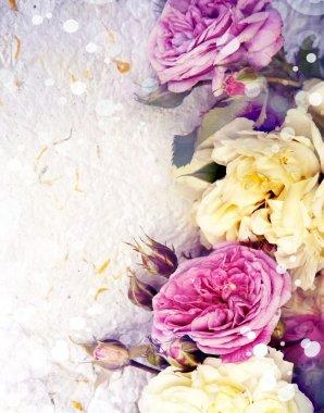 """Картина, постер, плакат, фотообои """"розы и бумага ручной работы """", артикул 51357393"""