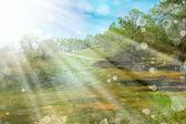 Krajina s paprsky slunce