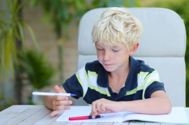 Boy studying home task
