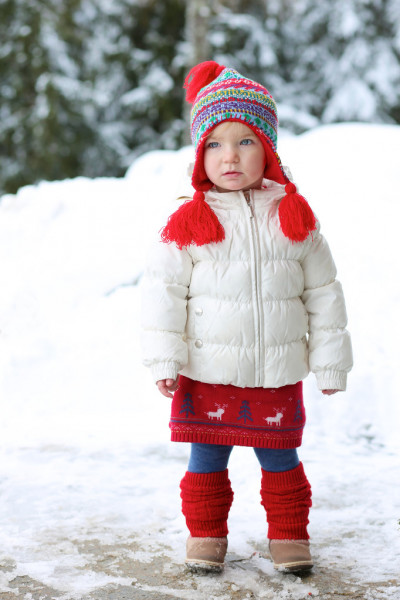 Girl in beautiful warm outfit