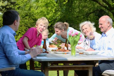 Family having healthy bbq lunch
