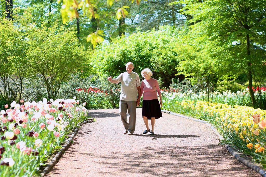 Happy senior couple walking in beautiful floral park