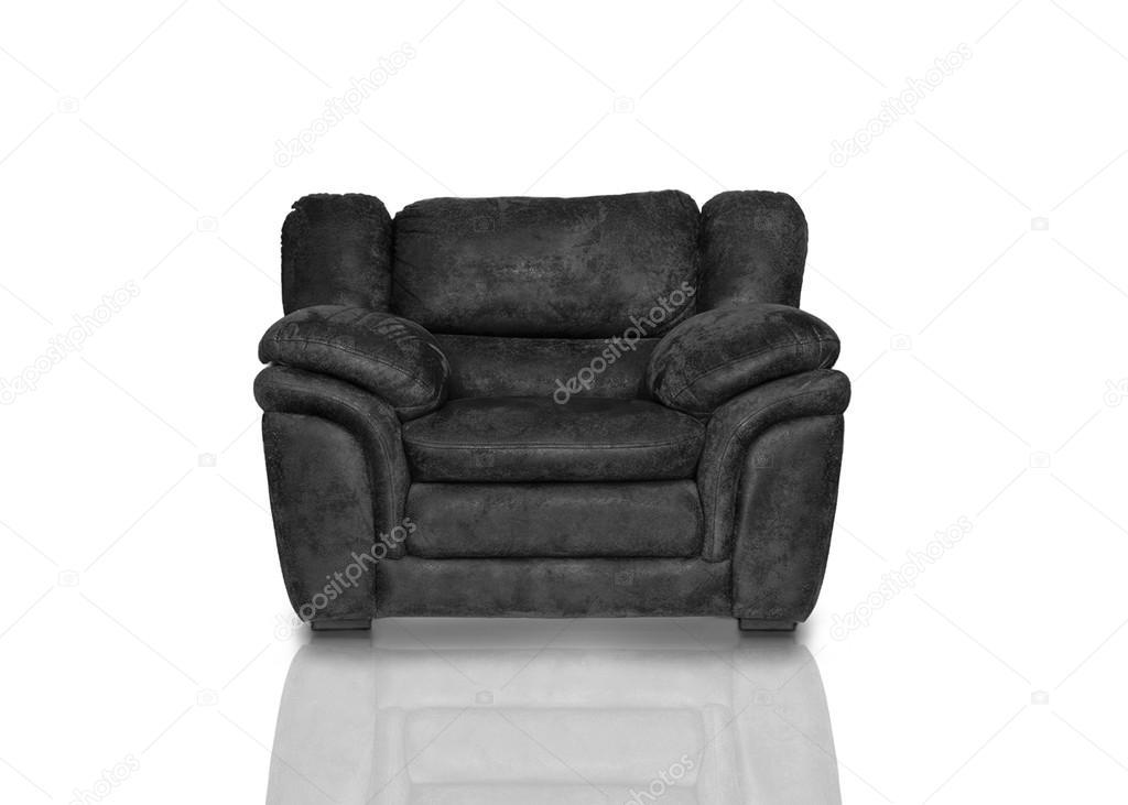 Zwarte lederen fauteuil u stockfoto kerensegev