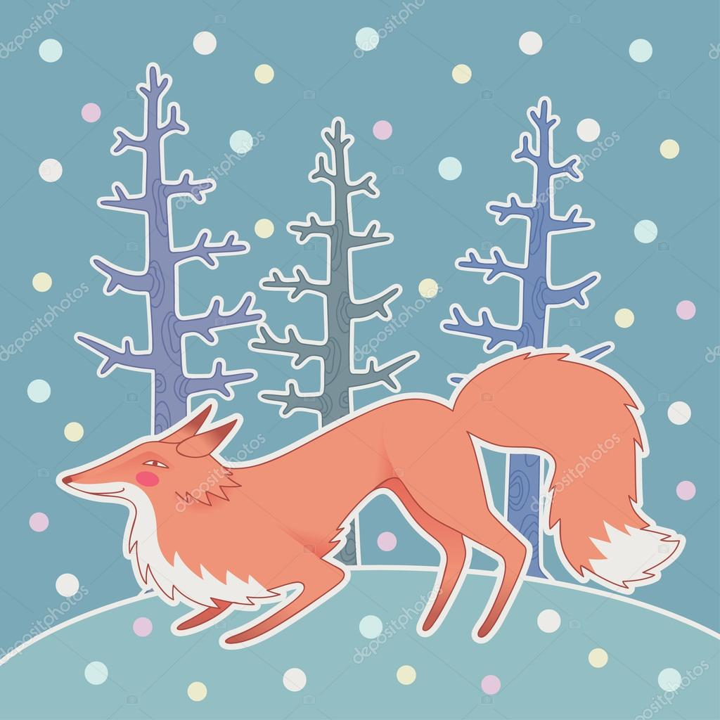 Illustration of fox in the winter forest