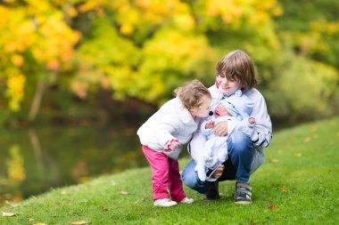Children in a beautiful autumn park