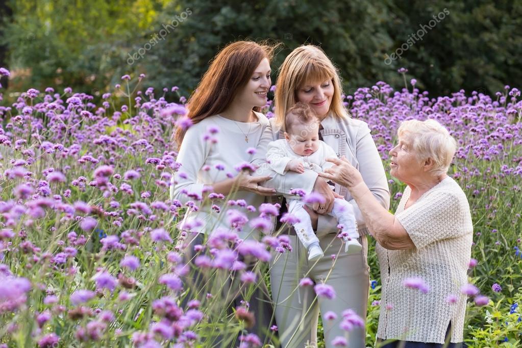 Four generations of women in a field