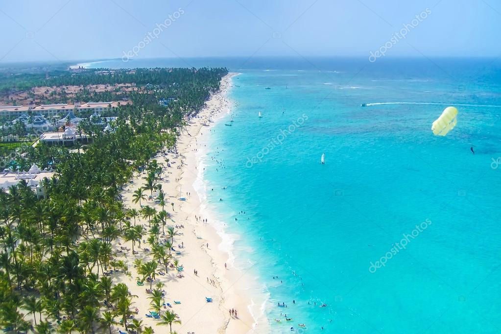 View from above of a beautiful tropical beach with palms