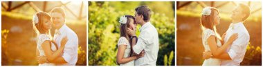 wedding. beautiful couple kissing in the sun. collage