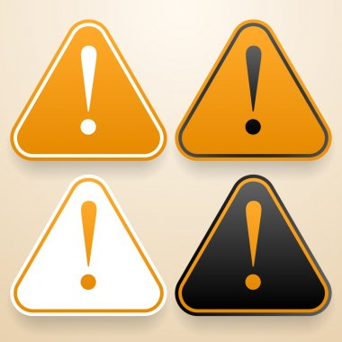 Set of triangular signs of danger of white, black and orange color. Warning sign