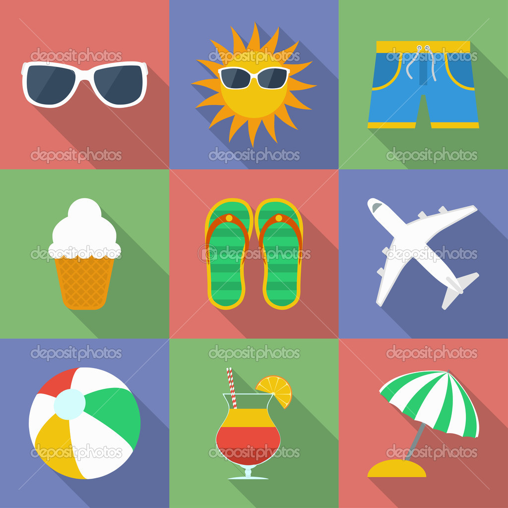 set of icons of summer travel theme modern flat style with a long