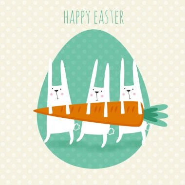 Happy easter greeting card. Vector illustration with cute rabbit