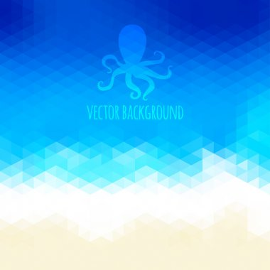 Abstract beach triangular background made of polygonal shapes. V