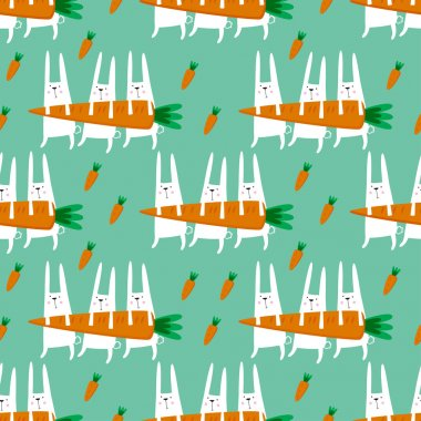 Seamless vector pattern with rabbits and carrots.