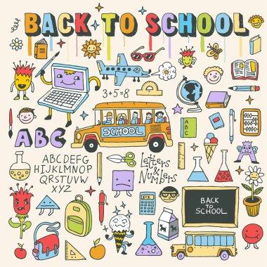 Back to school vintage doodle set
