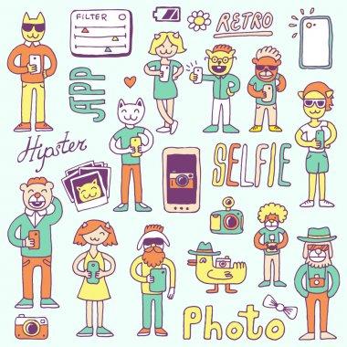 Hipster doodles selfie set