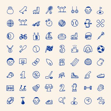Doodle sport icons set
