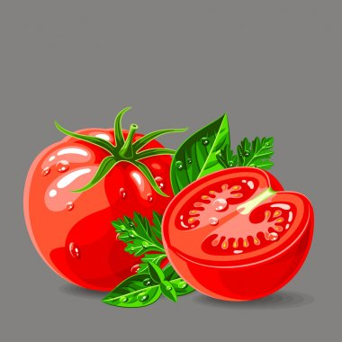 Fresh tomatoes with parsley and basil