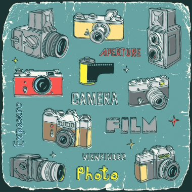 Vintage film cameras doodle set