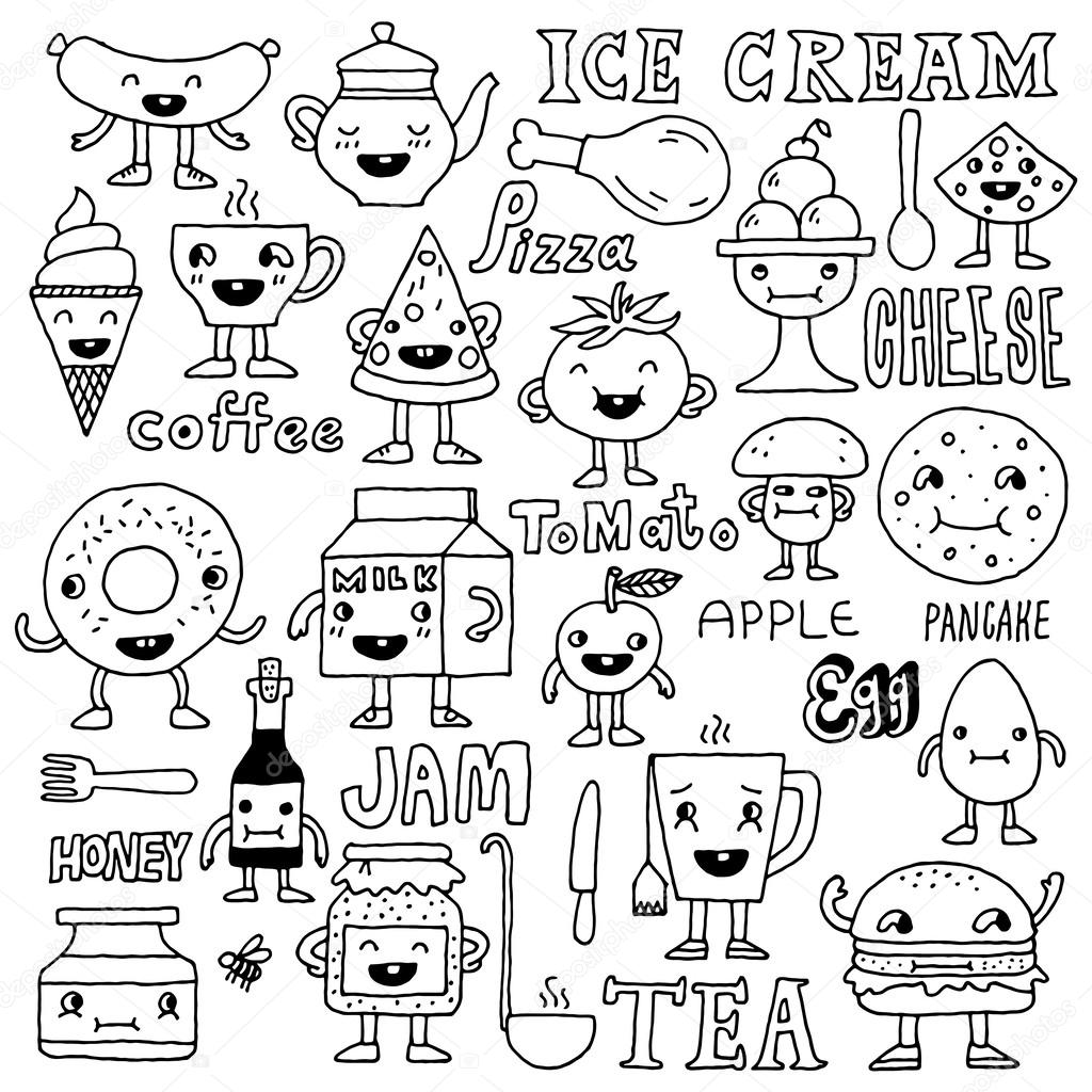 Food funny cute doodle set — Stock Vector © Sashatigar ...
