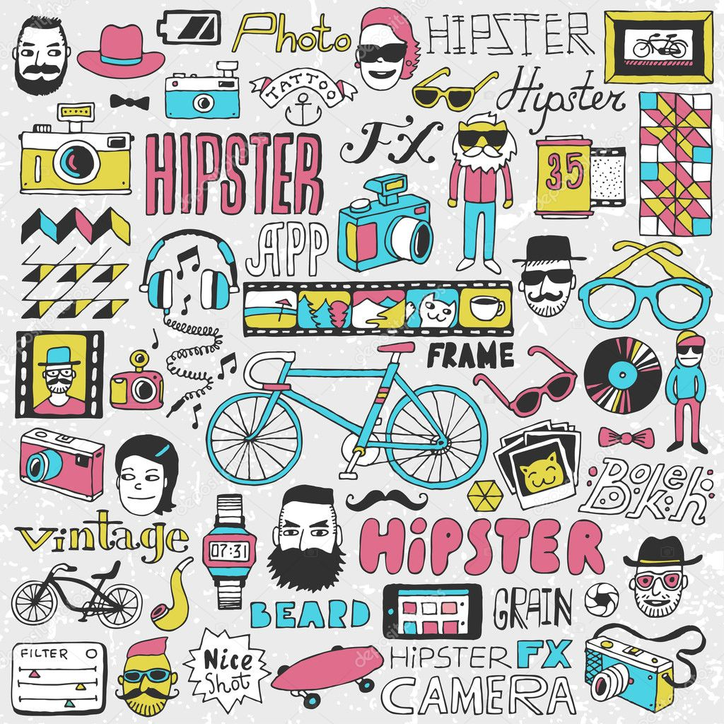 Hipster lifestyle colorful doodle set