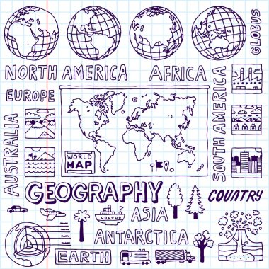 Geography. Hand drawn.