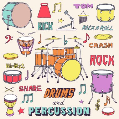 Hand drawn colorful musical instruments.