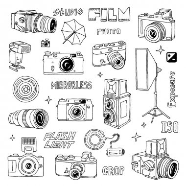 Hand drawn photographic doodles set