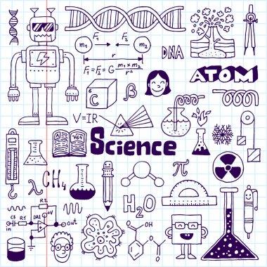 School science doodle set on notebook.