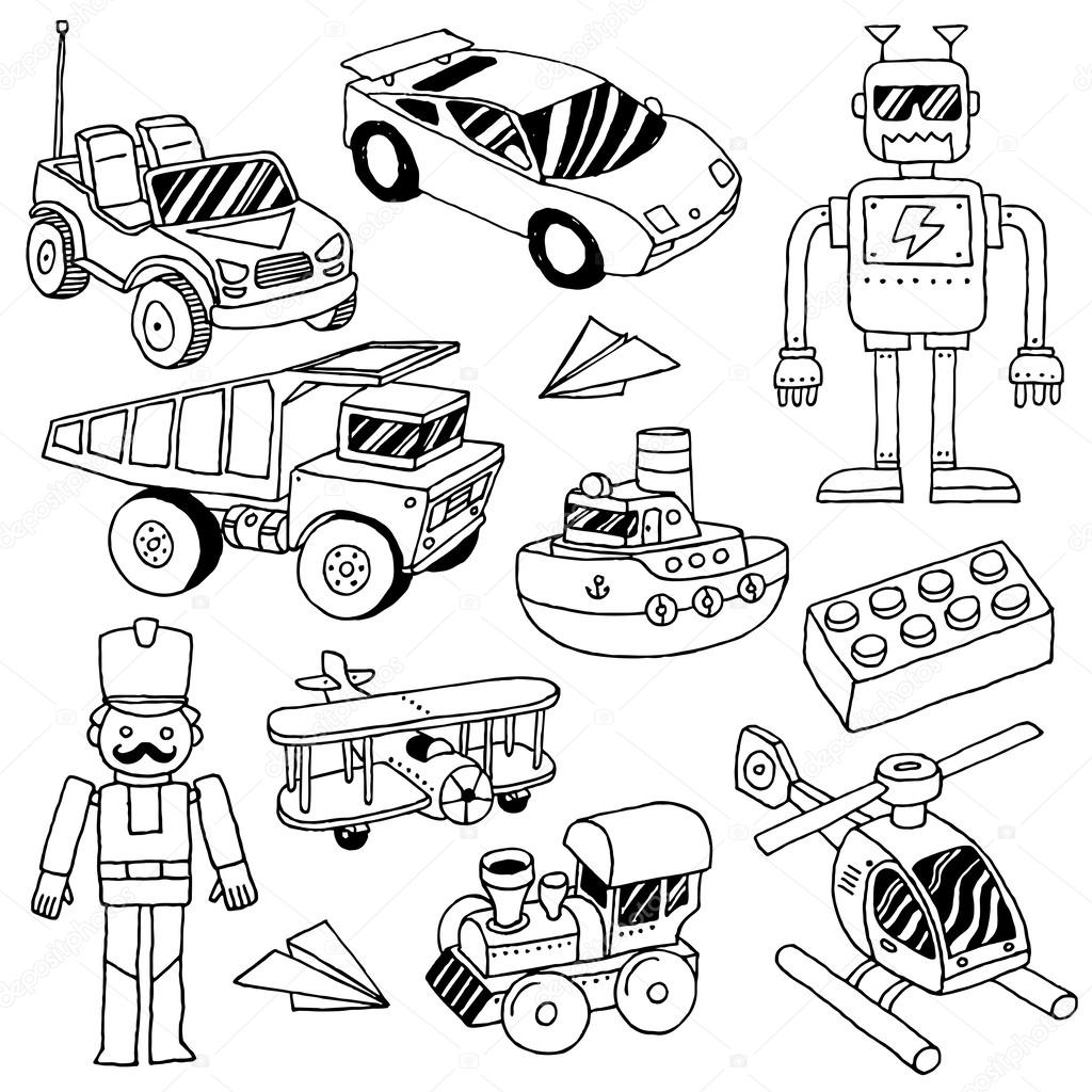 Boy Toys Drawing : Hand drawn doodle boys toys set — stock vector