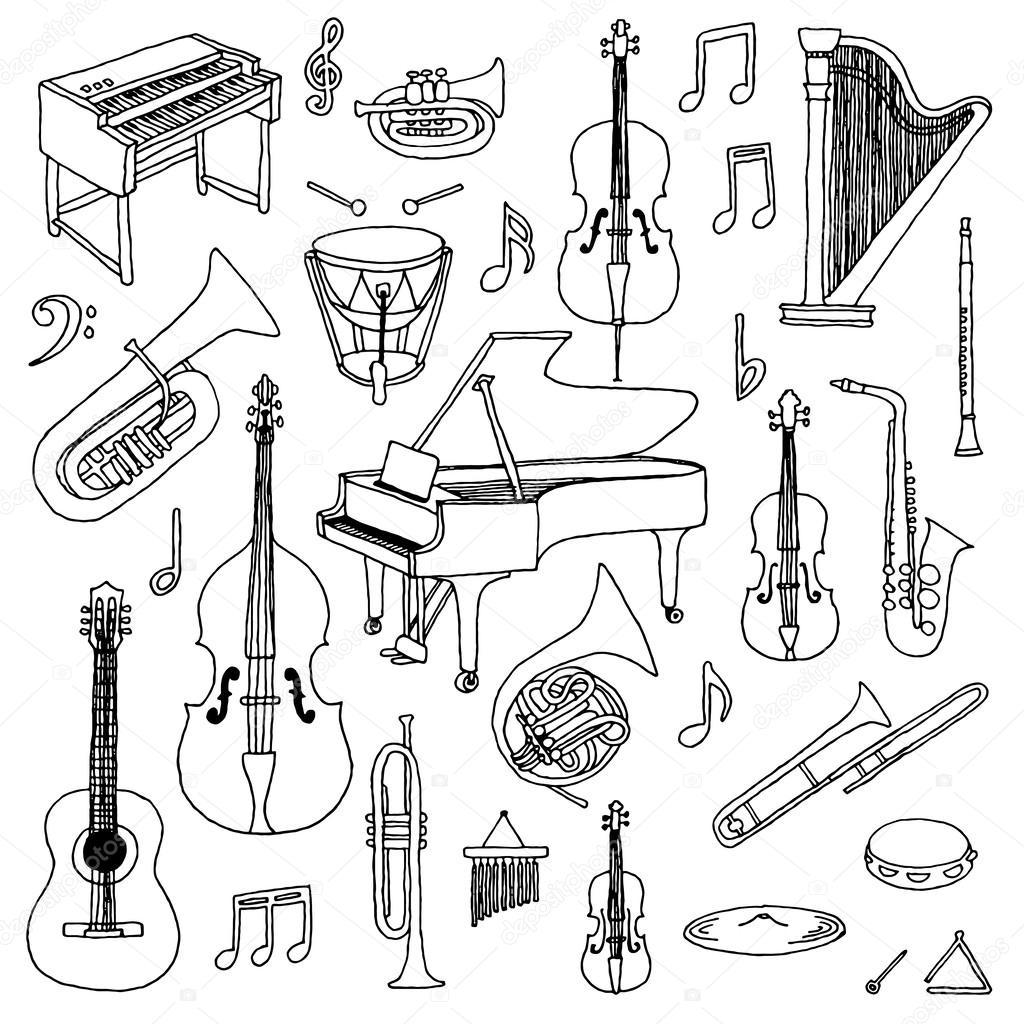 Инструменты симфонического оркестра картинки и названия нарисовать