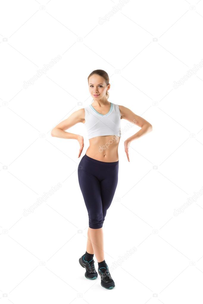 d6e404d16 Retrato de cuerpo entero de mujer en ropa deportiva, aislado sobre fondo  blanco — Foto