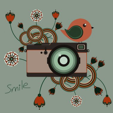 Illustration with old vintage camera with bird