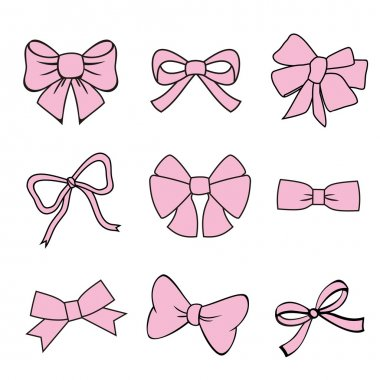 Pink bows on white background. set of vector illustrations. silhouette image of bow set stock vector