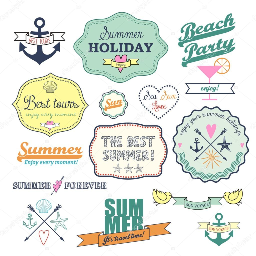 Colorful retro elements for Summer calligraphic designs.