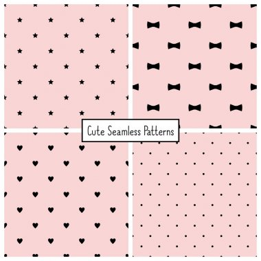 Set of four retro seamless backgrounds with stars, bows, hearts and dots. Vector patterns.