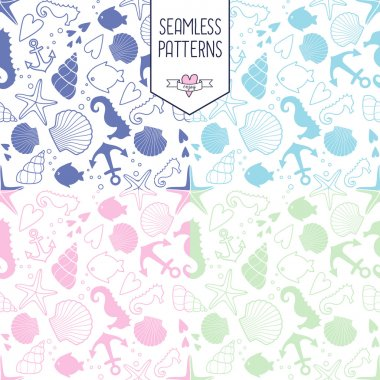 Seamless pattern with sea creatures doodles and nautical stuff.